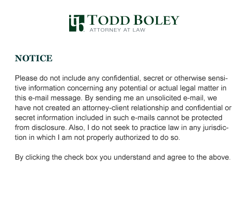 NOTICE. Please do not include any confidential, secret or otherwise sensitive information concerning any potential or actual legal matter in this e-mail message. By sending me an unsolicited e-mail, we have not created an attorney-client relationship and confidential or secret information included in such e-mails cannot be protected from disclosure. Also, I do not seek to practice law in any jurisdiction in which I am not properly authorized to do so. By clicking the check box you understand and agree to the above.<br />